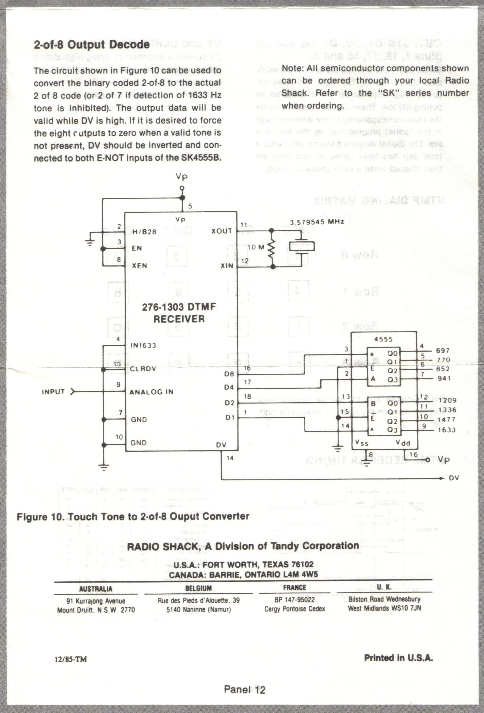 Stuff I Scanned Today 13 Jan 2013 Dtmf Generator Decoder Radio Shack 5089 Encoder Chip