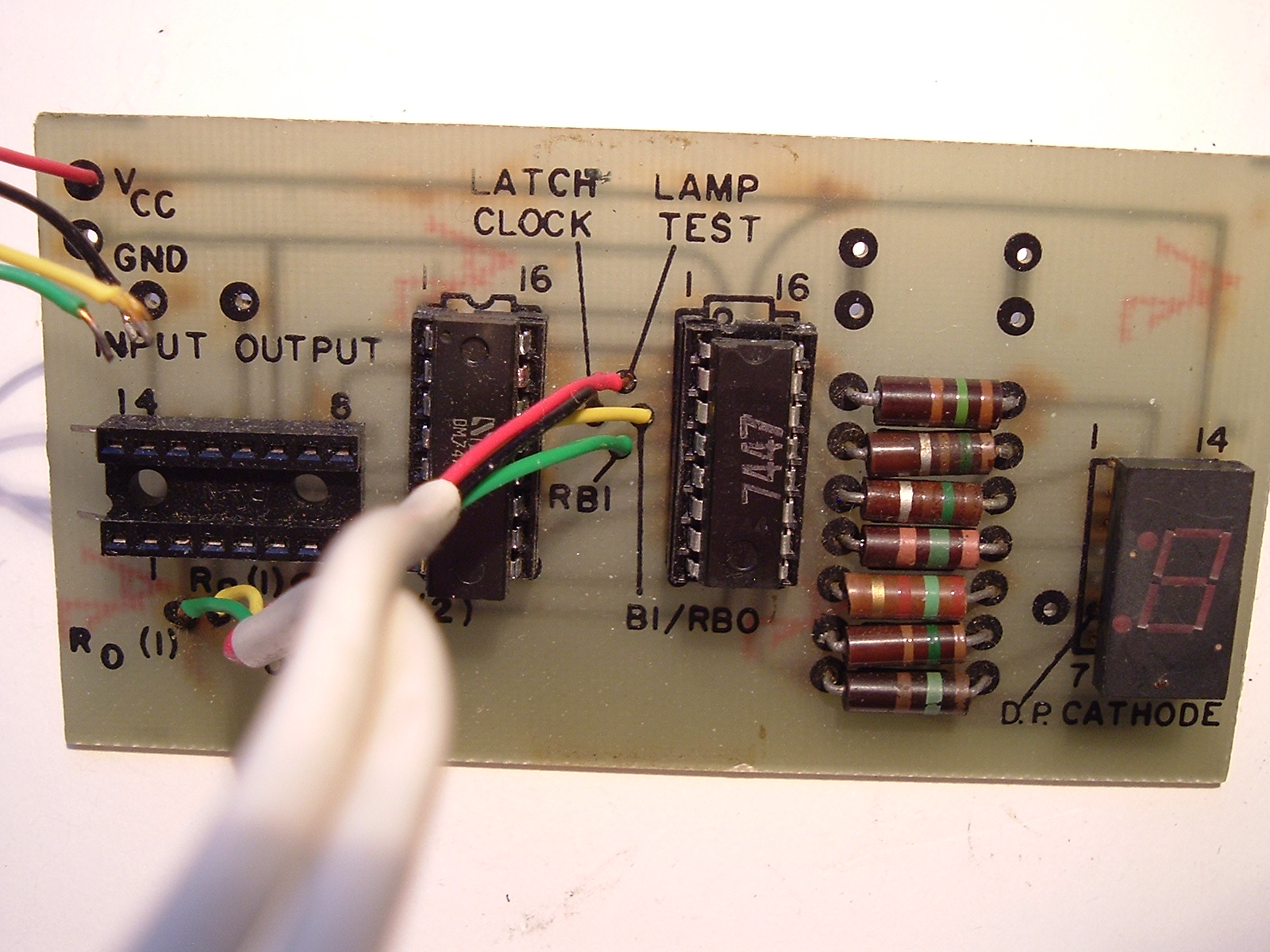 Led Bcd To Seven Segment Display Decoder Logic Diagram 0f A Radio Shack Kit 7 7447 Driver 7475 4 Bit Latch And Socket For Counter 7490 Decade